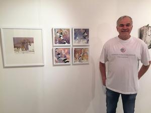 Björn-Owe Andersson visar sin serie av bilder i akvarell.