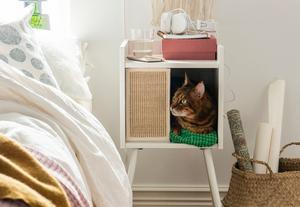 Det här katthuset ingår i serien och kan bland annat användas som ett sängbord där katten kan krypa in.