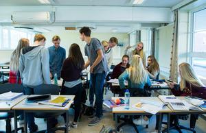 Boo Gunnarson, Visma, tipsar bland annat politikerna om att utbildning i företagande bör införas i skolan. Bild: Berit Roald/TT