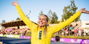 Emelie var glad och frustrerad på samma gång efter trestegsfinalen i Gävle. Bild: Erik Simander/TT