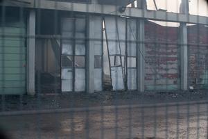 Den drabbade byggnaden på måndagseftermiddagen.