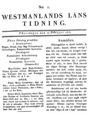 VLT, sidan 1, från torsdagen den 10 februari 1831.