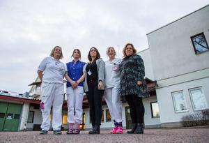 Ann Eriksson, sjuksköterska på akuten, Petra Hellberg, undersköterska på akuten, Annika Borg, avdelningschef akuten, Frida Hansson, avdelningschef medicin och Carola Lindblom, verksamhetschef på Avesta lasarett.