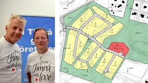 Entreprenörerna Pigge Werkelin och Roger Albrecht vill bygga 450 bostäder i Timrå, de första i Djupängen.