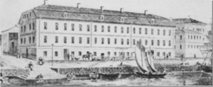 Elfstrand-Valleyska huset vid Norra Strandgatan före 1869 års brand.