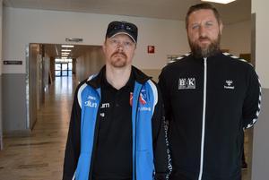 Peter Löfling, IBF Borlänge, och Erik Axelsson, BHK, söker svar på varför projektet med en modulhall har pausats.