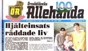 ÖA 17 juni 1994. Peder Moberg och Jim Olsson räddade 5-årige Marcus Johansson från att drunkna.