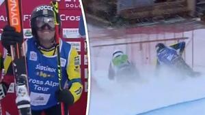 Viktor Andersson höll på att prejas ut, men klarade sig och blev tvåa. Foto: SVT (Skärmdump)