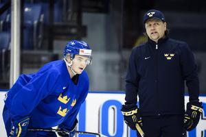 Nizze Landén, till höger i bild, under senaste JVM. Bild: Erik Simander/TT