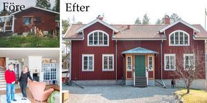 Marie och Max har totalförvandlat den fuktskadade sommartugan i Harkskär till en ståtlig villa – som dessutom har en second hand-butik i källaren