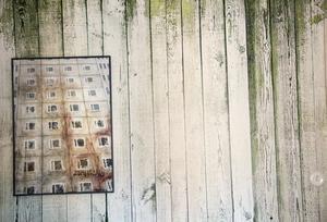 Murkna träbrädor, tegel, plåt och bilder på andra ruffiga material har Ronny valt att göra tapeter av.