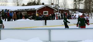 Matchen mellan Vemhån och Hede lockade fin publik. Närmare 100 personer fanns runt rinken.