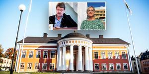 Insändarskribenten anser att Anders Gäfvert (M) fortsätter att vara oppositionsråd i praktiken, trots att det är Christina Lindberg (C) som är vald till oppositionsråd. Foto: Hanna Persson, Gunnar Stattin och Ulf Westman. Montage: Birgitta Strandh.