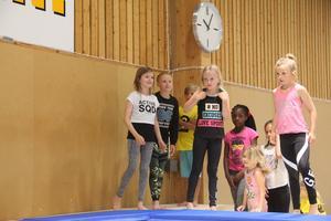 Totalt var det femton stycken barn som testade truppgymnastik.
