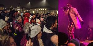 Torget är fullt när Idolvinnaren från Tällberg står på scenen och uppmanar till dans.