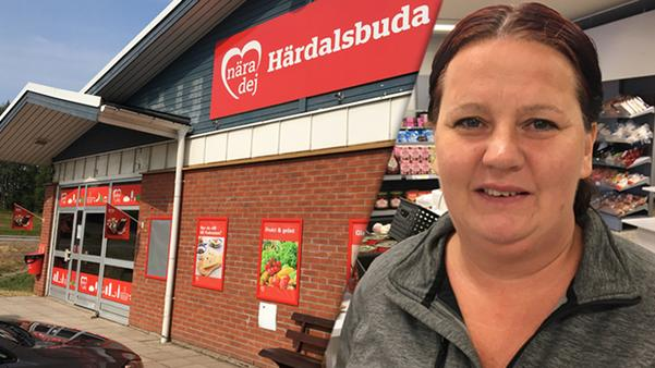Mikaela Karlssons nyöppnade butik i Lillhärdal har blivit en mötesplats i krisen.