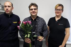 Mattias Ström, räddningschef, Peter Resare och Elisabeth Myregrund, brandskyddsföreningen.