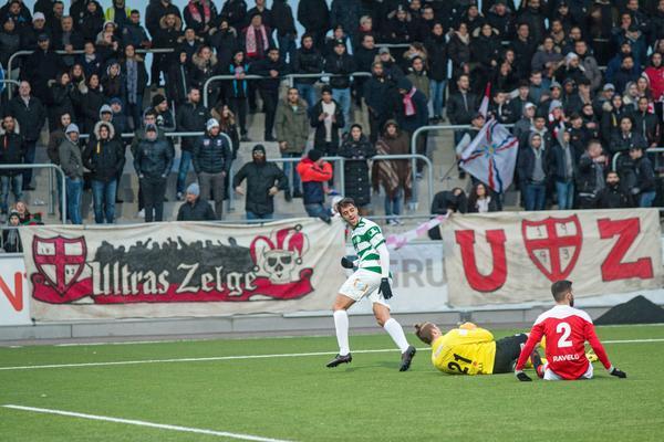 Dylan Kosik efter sitt 2–0-mål i premiären mot Assyriska.