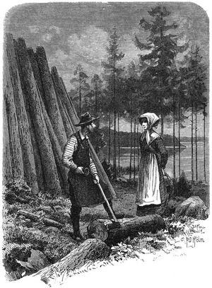 En skogsarbetare träffar ett skogsrå. Ur