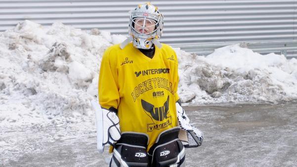 Jesper, 6 år,  och målvakt i VIK. Foto: Privat