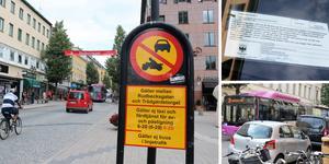 Cyklar, bilar och bussar - och gående - ska samsas på Drottninggatan. Det är upplagt för konflikter.  Taxibilar och utryckningsfordon har särskilda regler på Drottninggatan. Dessutom finns det andra 300 fordon som har olika former av tillstånd att vistas där.
