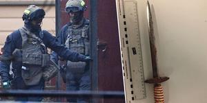 Polisen inväntade förhandlare och piketstyrkan innan mannen kunde fås under kontroll. Bilden till vänster är tagen i ett annat sammanhang. Till höger syns den kniv 59-åringen bar vid händelsen. Foto: Johan Nilsson (TT) / Polisen