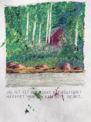Gunnel Frid visar måleri.