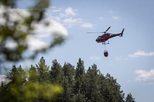 Helikopter har vattenbombat från tidig måndagsmorgon.