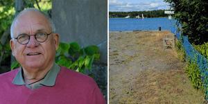 Lennart Fridh på Blidö, styrelseledamot i Stämmarsunds Ångbåtsbryggas Ideella förening. Lantmäteriet kommer snart att fastställa gränsen mellan fastigheterna.