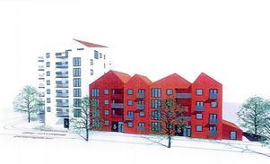 Skisser på hus de kan bli att se ut från Järnavägen. (Bild: Arcum)