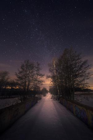 Vintergatan fotograferad från Sågdammen utanför Skultuna av 14-årige Linus Olofsson.
