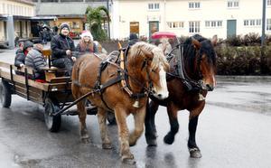 Tobias och Edit Andersson i Örebro läns ardennerklubb körde taxi mellan Rådhuset och Bryggeriområdet.  De på kuskbocken samt hästarna Wille och Tonella bor i Fogdhyttan på vägen mot Striberg.
