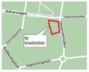 I det röda området har man tänkt att den nya brandstationen ska ligga.