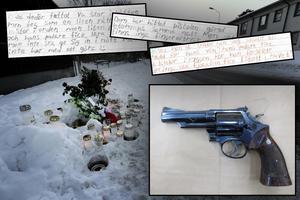 Mordvapnet och delar från de brevväxlingar som skedde mellan de åtalade männen på häktestoaletten.