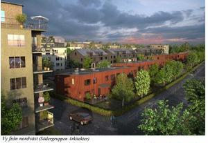 Illustration: Södergruppen arkitekterVy över den nya stadsdelen från sydväst, enligt det förslag som nu är ute på samråd i Rimbo.