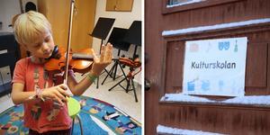 Sexårige Stig Båvner är ett av de barn som inte kommer kunna fortsätta spela fiol, när en del av undervisningen vid Kulturskolan i Norberg stoppas efter nyår.