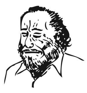 Tecknat porträtt av Charles Bukowski.
