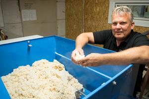 Sten-Erik Malmqvist visar upp isoleringsmassan som är gjord av trä. Den sprutas in i huskomponenterna.