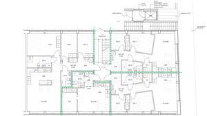 Skiss över plan två på nya lägenheter Stora gatan som Sterner Stenhus bygger.Foto: Pressbild