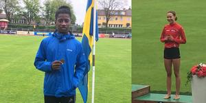 Christof Neib till vänster och Elsa Palmgren till höger båda med bronsmedaljer hem från USM i friidrott för 15 och 16 åringar. Bild:  Stefan Slättman