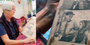 Gun Lyrberg berättar om hur det var att växa upp i Kungsberget  och visar ett tidningsurklipp med en bild på sig själv med sin far.