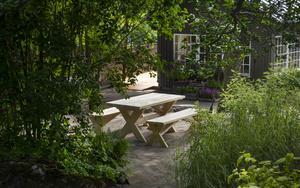 Tanken är att Katrinelunds Trädgård och café ska vara både en inspirationsträdgård och en oas att komma till och ta en fika i en skön grön och blommande miljö.