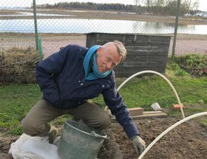 Thomas Bengtsson och de andra odlarna har numera sjöutsikt från föreningens odlingslotter. Tidigare skymdes Mälaren av all vass.