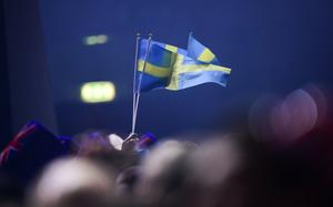 Försiktigt viftande med svenska flaggor. Foto: Stina Stjernkvist/TT