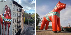 Världens två största dalahästar i New York och i Avesta. Foto: Shai Dahans Instagram/Marin Wik