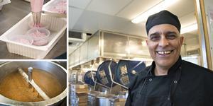 Ahmed Abib leder arbetet i det varma köket där man sju dagar i veckan lagar mat till Löwenströmska sjukhuset och äldreboenden i Stockholm – och numera också Gävle.