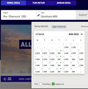 Så mycket kostar det att flyga till Stockholm från Åre Östersund flygplats.