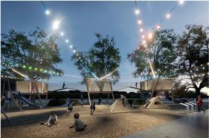 Med bra belysning kan en lekpark kännas trygg även på kvällen. Exempel från Södra kajen, Norrköping. Skiss: Nyréns arkitektkontor.
