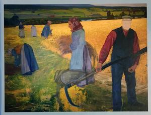 Omslagsbilden på Hälsingerunor visar  skördearbete 1907, en ofullbordad och osignerad olja av konstnären John Sten.