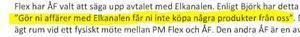 Enligt anmälan ska PM Flex ha sagt så här till Elkanalens återförsäljare. Foto: Utdrag ur anmälan till Konkurrensverket.